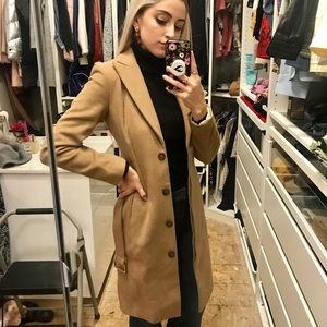 H&M Wool Camel Coat Gold Detail Belt